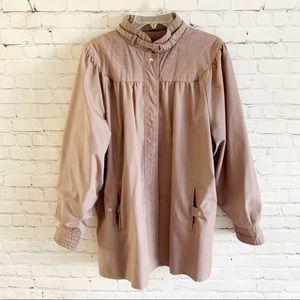 80s VTG Mod Purple Button Up Raincoat by Downpour